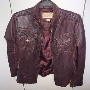 Michael Kors Maroon Leather Jacket